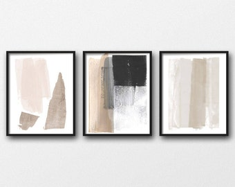 Modern Minimalist Abstract Art Prints, Set of 3 Prints, Best Selling Item, Neutral Home Decor, Greige Wall Art, Large Abstract Art Set