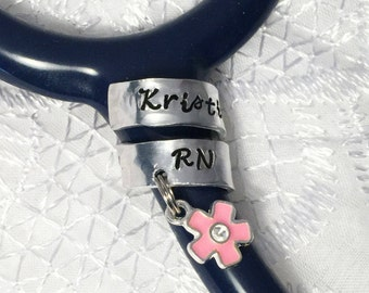 Stethoscope ID Ring with A Pink Flower Charm,  Stethoscope Wrap Ring, Nurse Gift, Doctor Gift,  Personalized Stethoscope Ring