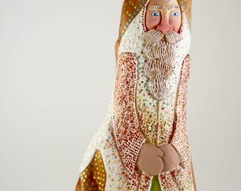 Hand carved Santa in Cypress Knee wood and painted in acrylics//Gift//Great Decoration//Wood//Figure in Wood//Santa Claus//Cypress Knee