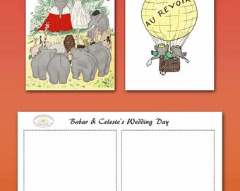 Fun Wedding Day Gift Cards BABAR THE ELEPHANT / Two Printable 3.5 x 5 Folding Greeting Cards / Blank Inside / Gift Tags / Digital Download