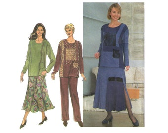 Simplicity 8246, 90s sewing pattern size 12-14 women's long sleeve shirt round neckline, gored skirt flared, pants pattern
