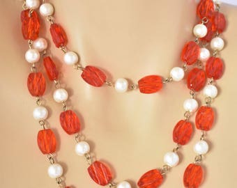 Vintage Red Multi Strand Draping Beaded Chain Necklace Faux Pearl Boho Flapper Style 53""