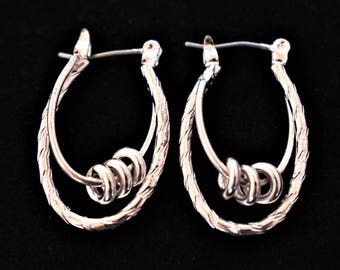 Vintage Danecraft Geometric Oval Dangle Hoop Earrings Modernist Boho Costume Jewelry 1""
