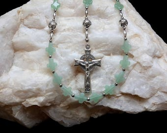 Green Aventurine Rosary, Cross-Shaped Bead Rosary, Celtic Crucifix, St Patrick Centerpiece, Catholic 5 Decade Rosary