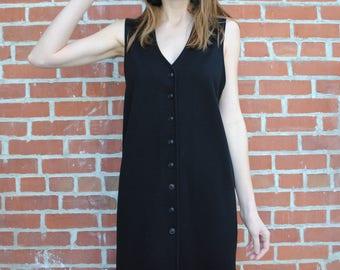 Vintage Dress, 90's Dress, Grunge, Button Down, Sleeveless, Milano, 90's Clothing, Vintage Clothing, Mini Dress, Black Dress, LBD, Medium