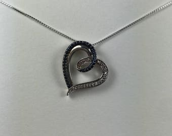 Petite Blue and White Diamond Chip 925 Sterling Silver Open Heart Pendant Necklace