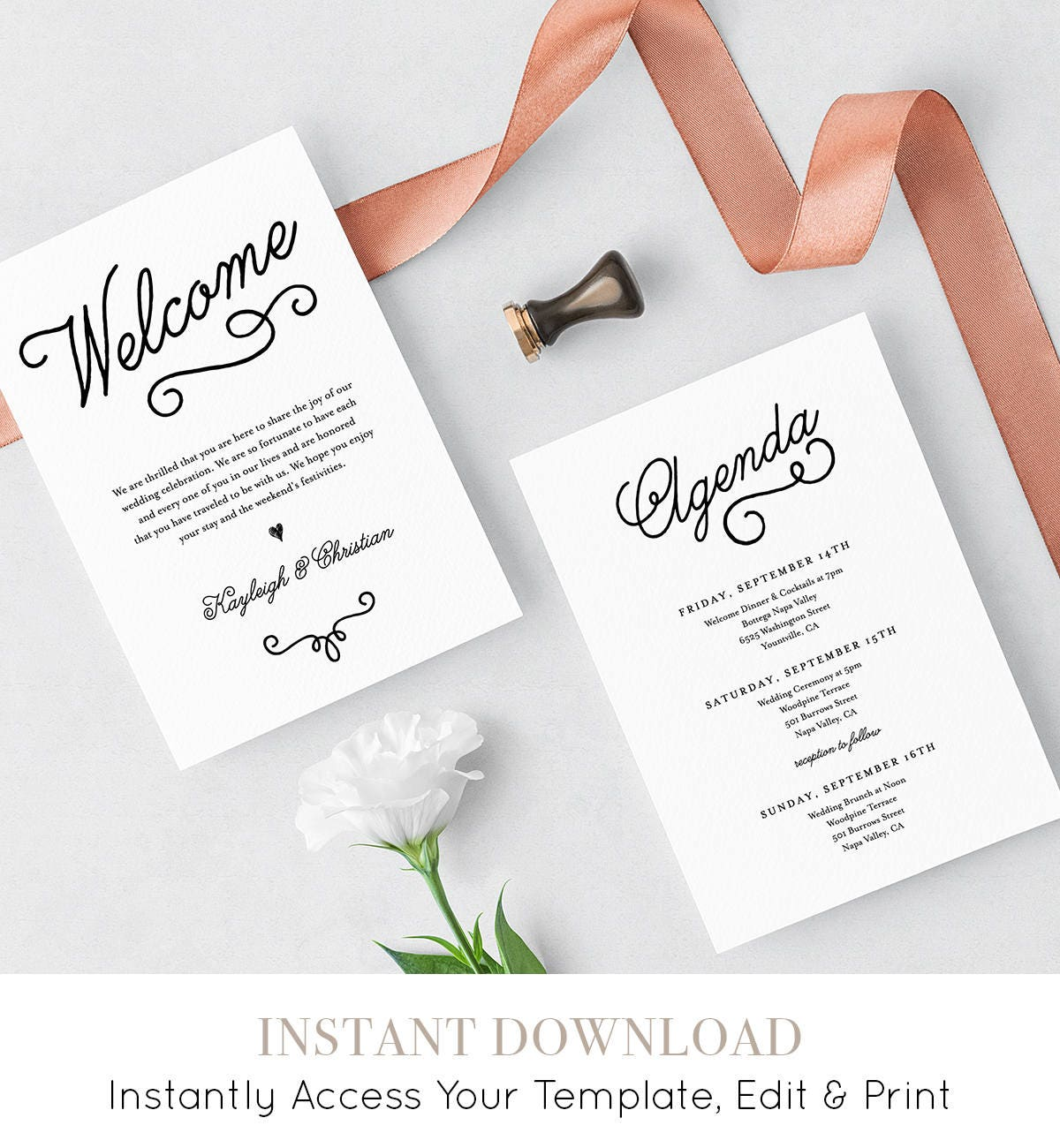 Welcome letter agenda wedding welcome bag card itinerary welcome letter agenda wedding welcome bag card itinerary printable instant download 100 editable template templett diy 035 108wb pronofoot35fo Gallery