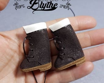 Shinning Brown suede and beige leather boots for Blythe doll-glossy brown suede boots and beige leather for Blythe