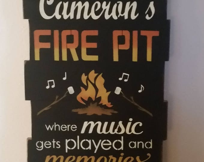 "Personalized Primitive Large ""Welcome To Our Fire Pit"" Sign"