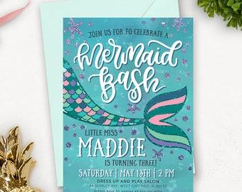 Mermaid Birthday Invitation Printable /  Under the Sea Birthday Invitation / Mermaid Party Invitation Download