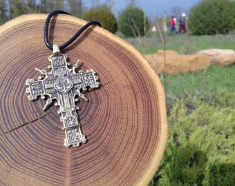 Cossack cross, Pectoral Bronze Cross pendant 18th century, Religious replica, Symbol of faith