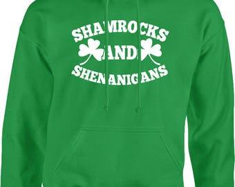 Shamrocks and Shenanigans - White Hooded Pullover Sweatshirt-SPD St Patricks Day Clover Irish Lucky Green Drinks -DT-01213