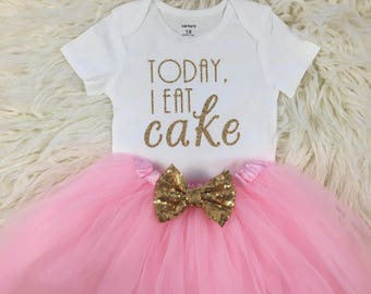 Today I Eat Cake, First Birthday Outfit Girl, Pink and Gold Birthday, Birthday Girl, Cake Smash Outfit, One, Birthday Tutu Outfit
