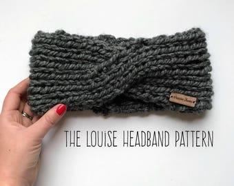 The Louise Knitting Headband Pattern, Beginner's Knitting Pattern, Easy Knitting Pattern, Knitted Ear Warmer Pattern