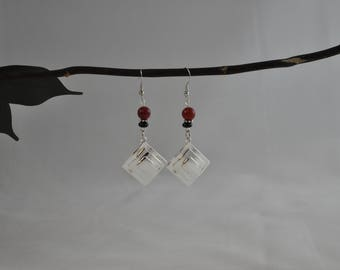 "Red earrings, Malaysia ""jade"" earrings, Silver earrings, Silver jewelry, Dangle earrings"