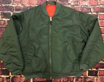 Vintage 90s Alpha MA-1 Bomber Jacket Mens Size 2X 2XL Vintage Military Flight Bomber Jacket Army Olive Green & Safety Orange