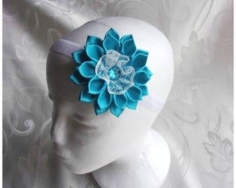 Kanzashi flower Headband for little girl/Satin Flower and lace Headband/Baby's Headband/Christening or Communion Headband