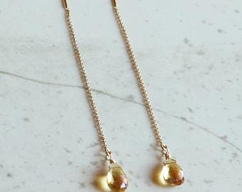 Gifts for Her, November Birthstone, Citrine Earrings, Citrine Threader Earrings Gold Filled, Sterling SIlver, Rose Gold, Gifts For Her