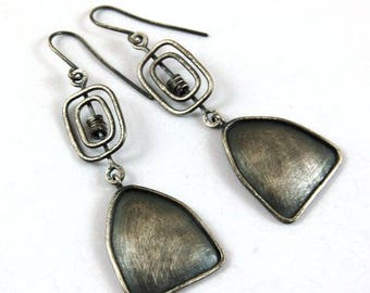 SALE 15% off !! - use the coupon code: SALE15  silver long earrings, oxidized silver earrings