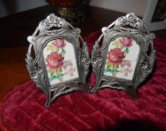 mini frame vintage art nouveau Tin for 2 photos double style