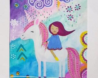 Unicorn painting - mixed media art - original unicorn art - unicorn illustration - Pink unicorn poster - Unicorn wall art