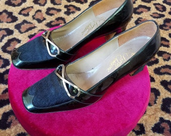 Vintage, 1960's, 1970's, Rosina Ferragamo Schiavone, Black, Patent Leather, Fur, Heels, Shoes, Made in Florence Italy