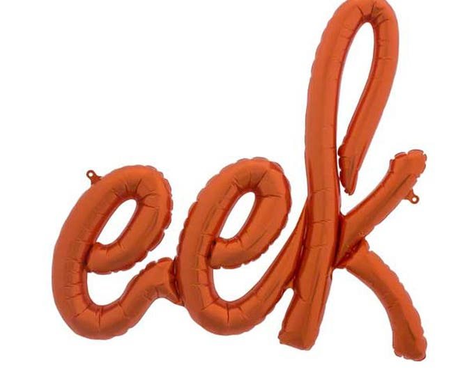Orange Eek Halloween Balloon. Orange Halloween Balloon. Halloween Party Decoration. Halloween Mantle Decor. Word Balloon. Script Balloon.