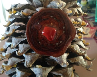 Pinecone pendant - Red stone