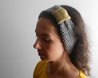 Mixed grey headband, Womens Ear warmer, Warm hand knit headband, Winter hair accessory