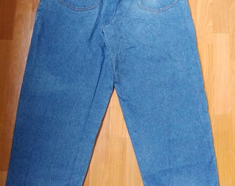 KARL KANI jeans, vintage baggy Kani jeans loose blue pants, 90s hip-hop clothing, old school 1990s hip hop, OG, gangsta rap, size W 38