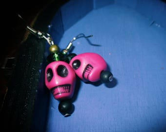 Cool Unique Gothic Day of the Dead Pink Skull Hook Earrings