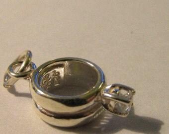 Sterlilng Silver Cubic Zirconia Engagement Ring Mini Charm Pendant, 10mm