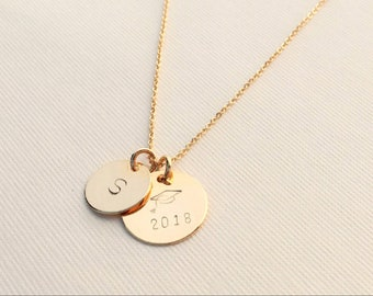 Graduation Necklace • Personalized • Graduation Cap with Year (2018 or ) • Initial Disc • 15mm & 12mm two disc • Great Gift for a Graduates