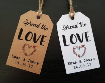 Spread the Love Tags - Jam Labels - Wedding Favour Jam Tags - Custom Favor Tags - Personalised Jam Tags - Marmalade Jar Tags - Honey Jar Tag