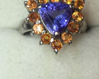 Broncos Ring Tanzanite and Orange Sapphire