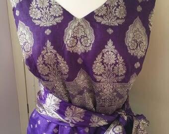 Silk party dress, silk prom dress, vintage silk dress, silk sari dress, unique silk dress, wedding guest dress, bridesmaid dress