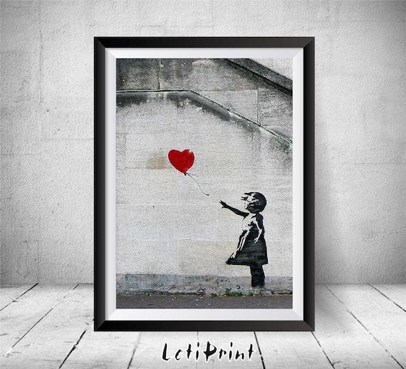banksy print red balloon girl print banksy graffiti art. Black Bedroom Furniture Sets. Home Design Ideas
