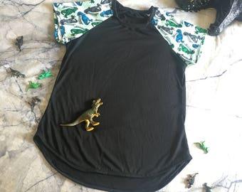 Women's Curved Hem Dinosaur T-Shirt