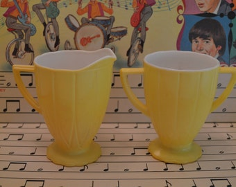 Retro Set of Two Yellow Creamer and Sugar Cups