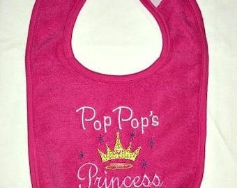 Pop Pop's Princess custom embroidered bib