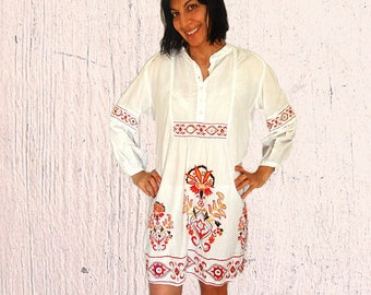 Plus size Mexican dress embroidered mexican shirt dress white cotton short peasant dress long sleeved vintage ethnic bohemian dress 12-14