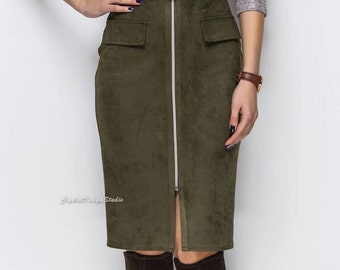 Eco-suede skirt with pockets Olive skirt women Length knee skirt black Eco-suede mustard tight skirt Knee hobble-skirt Mustard women skirt