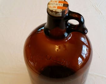 antique a&w gallon root beer brown glass jug 1970 era - vintage aw a w drive in restaurant equipment - soda pop collector bottle cafe diner