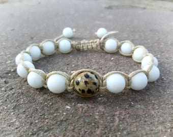 White Shamballa bracelet White Agate jewelry Jasper and Agate Shamballa Healing bracelet Yoga gift Stone Beaded bracelet White Yoga bracelet