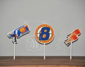 Nerf Gun Cupcake Topper, Nerf Party Decoration,  Dart Wars Party, Cupcake Topper, Darts Gun Birthday