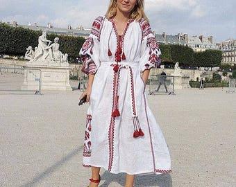 White linen wedding dress Vyshyvanka Kaftan Caftan Mexican Abaya Boho clothing Embroidered Summer dress For Engagement