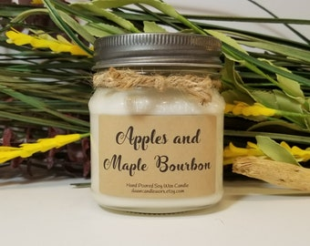 Mason Jar Candles - 8oz Soy Candles Handmade - Boyfriend Gift - Coworker Gift - Rustic Candles -Homemade Candle - Apples & Maple Bourbon
