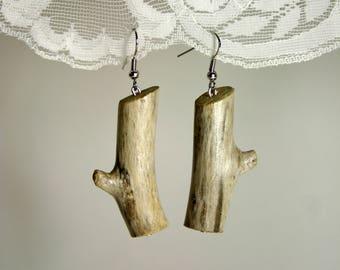 Wood branch earrings