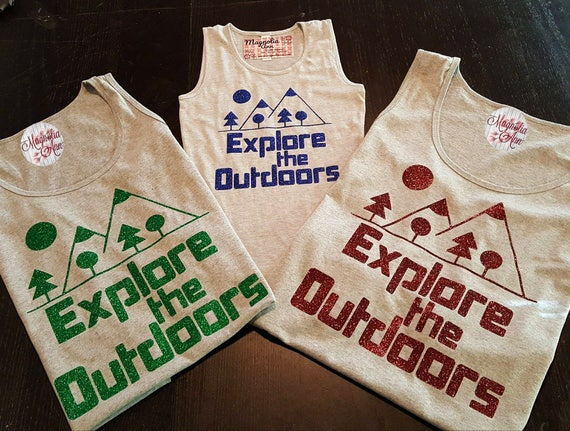 Explore the Outdoors, Camping, Hiking, Nature, Women's Premium Jersey Tank Top in Sizes Small-4X, Plus Sizes, Curvy, Lots of Colors