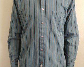 Vintage Blue Stripe Dress Shirt